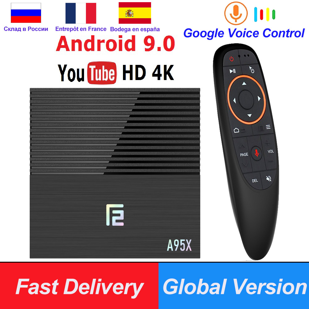 Android 9.0 Smart TV Box A95X F2 4GB 64GB Amlogic S905X2 2.4G/5G Wifi BT4.2 Voice Control Remote Google Player Media Youtube 4K