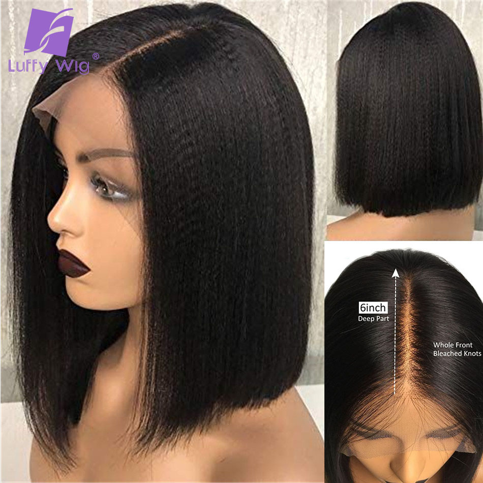 13x6 Yaki Straight Bob Lace Front Wigs Pre Plucked Bleached Knots Glueless Remy Brazilian Short Human Hair Wigs Deep Part LUFFY