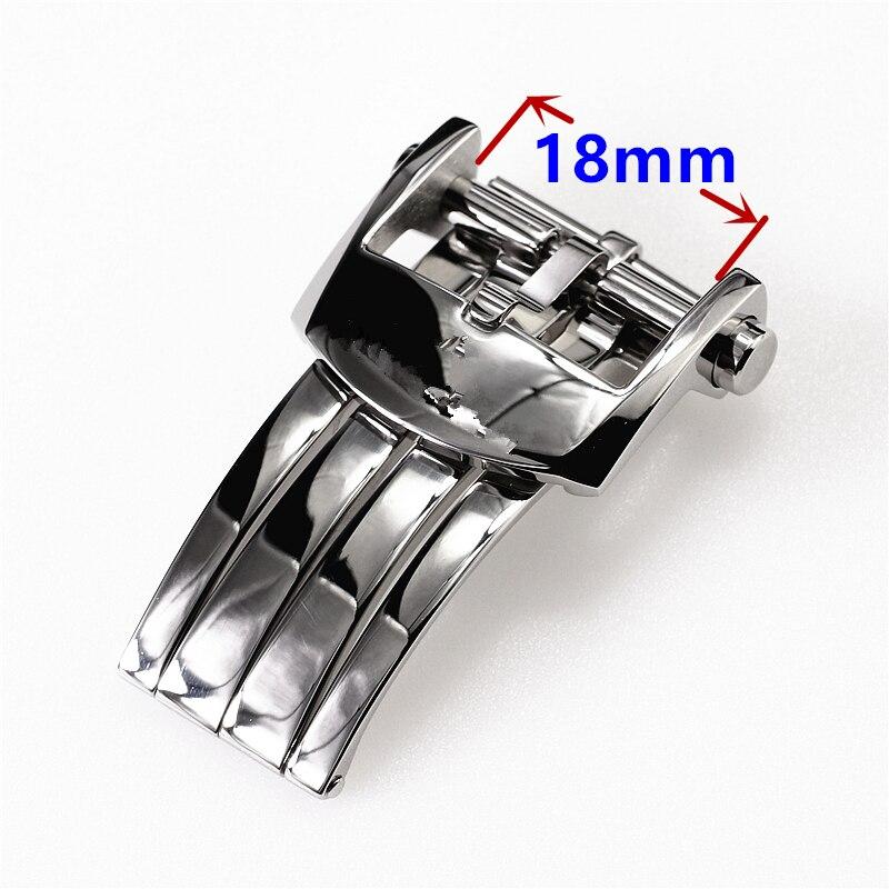 Роскошный 18 мм застежка из нержавеющей стали для Breitling автоматический день и Дата 40 мм часы кожаный ремешок Кнопка Складная Бабочка Пряжка