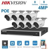 Kits de vigilancia de vídeo de 8 canales Hikvision POE NVR con sistema de seguridad CCTV para cámara IP de 4MP|Sistema de vigilancia| |  -