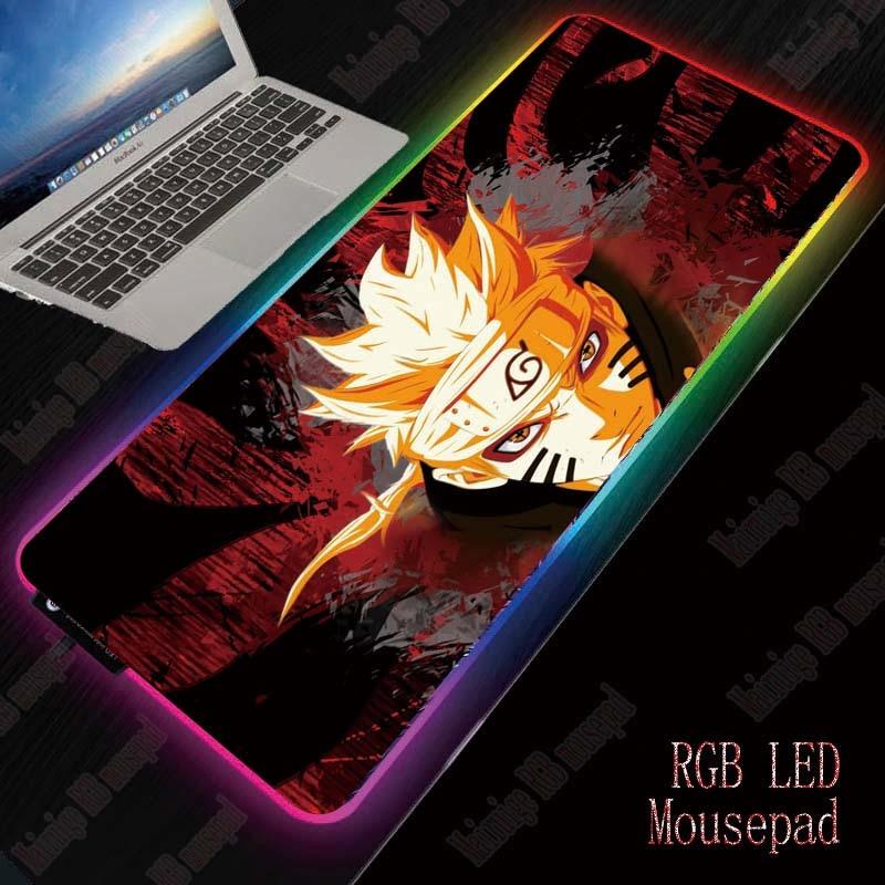 XGZ Naruto Anime Gaming Large Mousepad RGB Computer Mouse Pad Gamer Mause Pad Desk Backlit Mat Keyboard Pads Whit LED Backlight