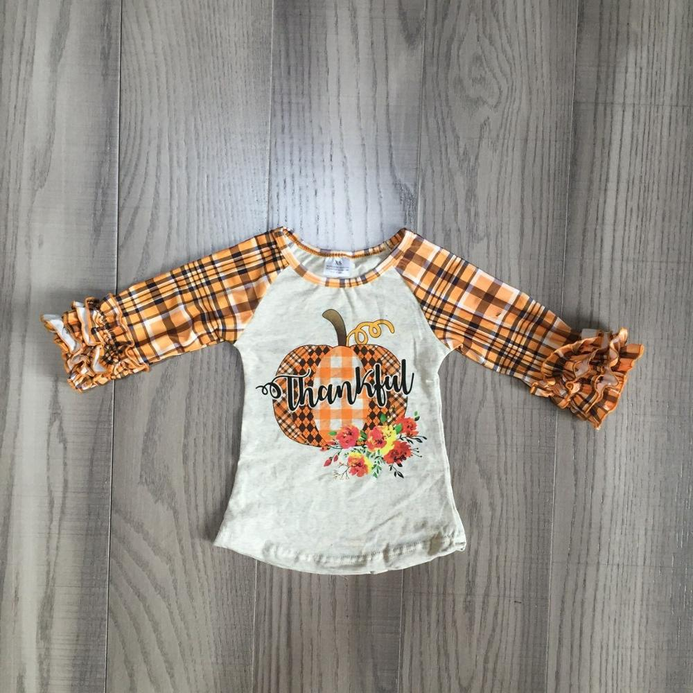 New Fall/winter Baby Girls Thanksgiving Cotton Icing Sleeve Top T-shirt Plaid Raglans Beige Thankful Floral Children Clothes
