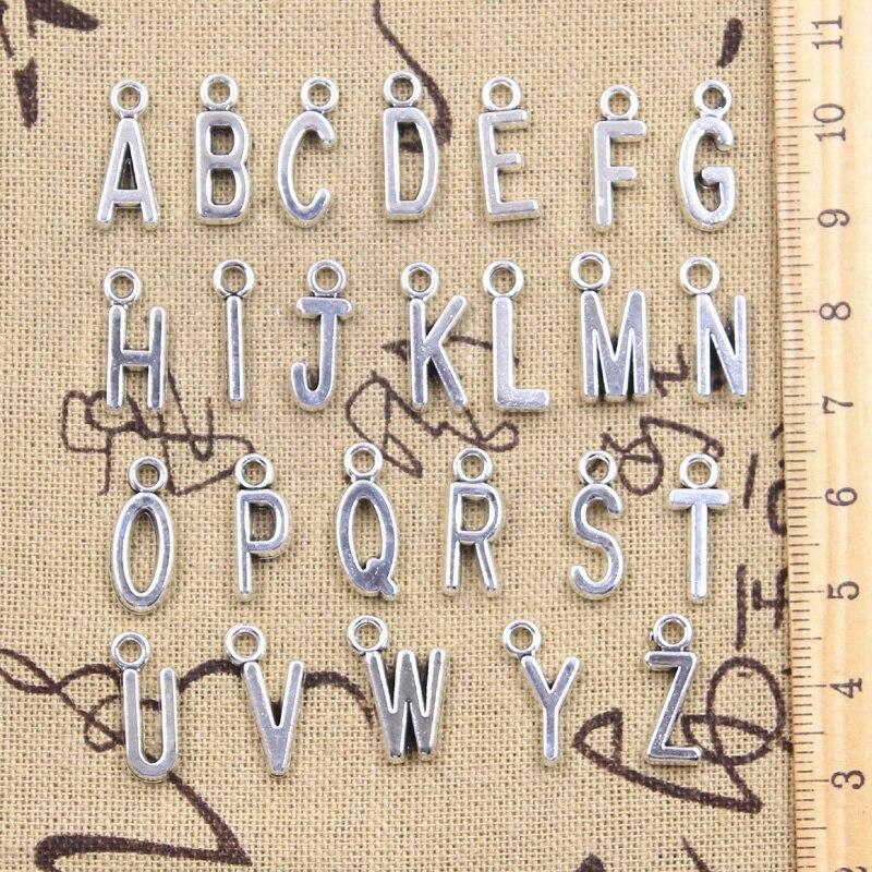 26pcs Charms Alphabet A-Z Letters Antique Silver Color Pendants Making DIY Handmade Tibetan Finding Jewelry 2