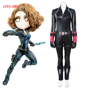 New The Avengers 2 Age of Ultron Black Widow Costume Outfit Natasha Romanoff Sexy Jumpsuit Halloween Cosplay Costume