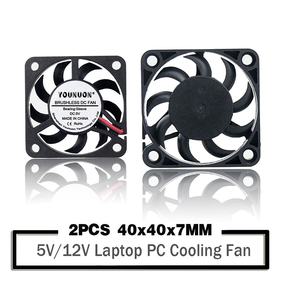2PCS YOUNUON <font><b>4007</b></font> DC 5V 12V 4cm 40mm 40X40X7mm Small Power Supply Cooling Fan 2-PIN XH2.54 PH2.0 JST DuPont Connector image