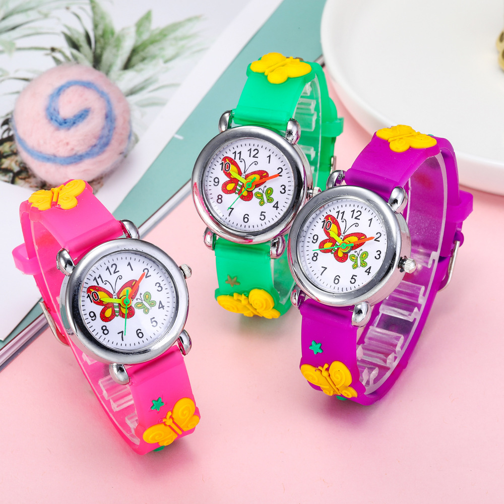 Luxury Beautiful Butterfly Children Watches Silicone Strap Analog Kids Quartz Watch For Boys Girls Student Clock Montre Enfant