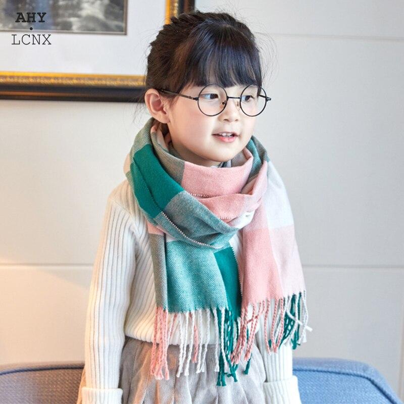 Alta qualidade crianças cachecol de lã do falso grosso quente xadrez menino menina outono inverno pequeno estreito xale adorável presente para crianças bebê