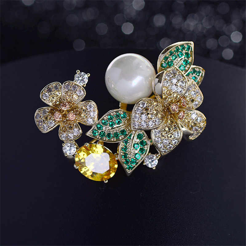 Brooch Luxury Cubic Zirconia Flower Suit Brooches Pin Lady Scarf Pins Gift