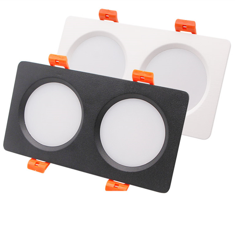 Double Square Led Grille Lights 7W 14W Ceiling Panel Lamps  85-265V 4000K Downlight Recessed Indoor Commercial Lighting Black