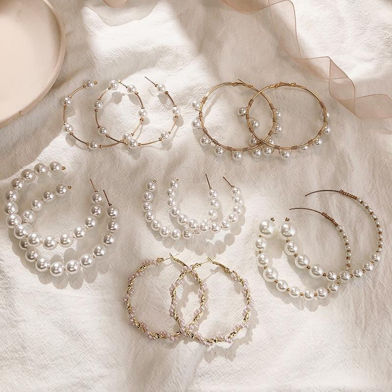 Trend Simulation Pearl Long Earrings Female White Round Pearl Wedding Pendant Earrings Fashion Korean Jewelry Earrings