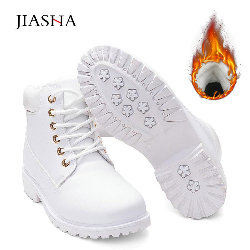 Ankle boots women shoes 2020 warm plush martin snow boots leather winter shoes woman warm fur plush Insole white boots women Ankle Boots    - AliExpress