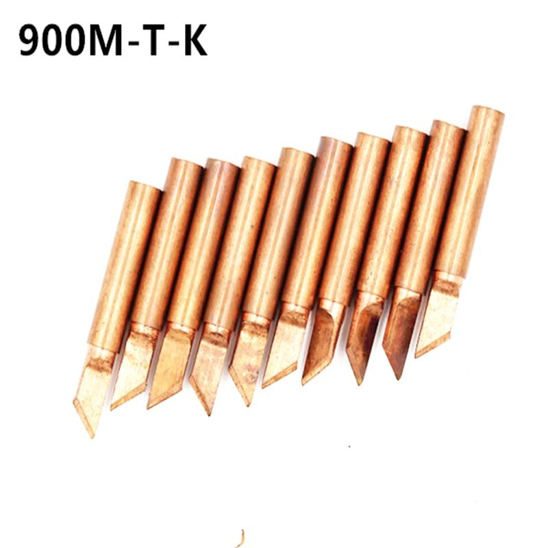 10pcs Lead-free Pure Copper Diamagnetic 900M-T-K Soldering Iron Tip Welding  900m T Iron Tip 900M Tips