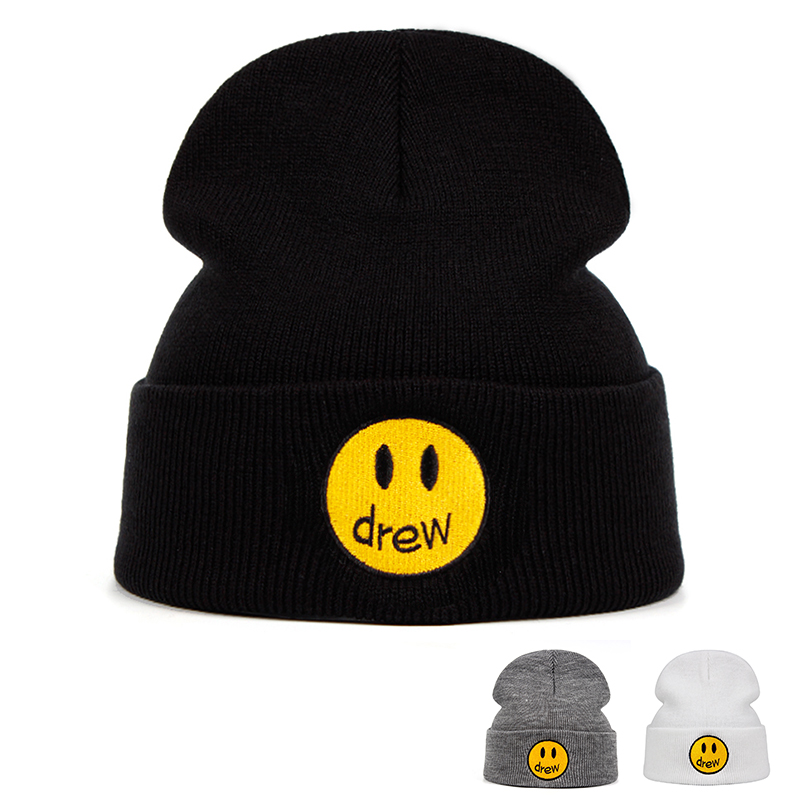 drewhouse Knitted Hat Justin Bieber Cotton Casual   Beanie   for Men Women Winter Solid Color Hip-hop   Skullies   Hat Unisex DREW house