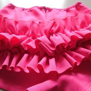 Image 5 - 2020 Women Spring Orange Sleeveless Ruffles Elastic O Neck 2 pcs Sets Crop Tops + Shorts Women Beach Playsuit