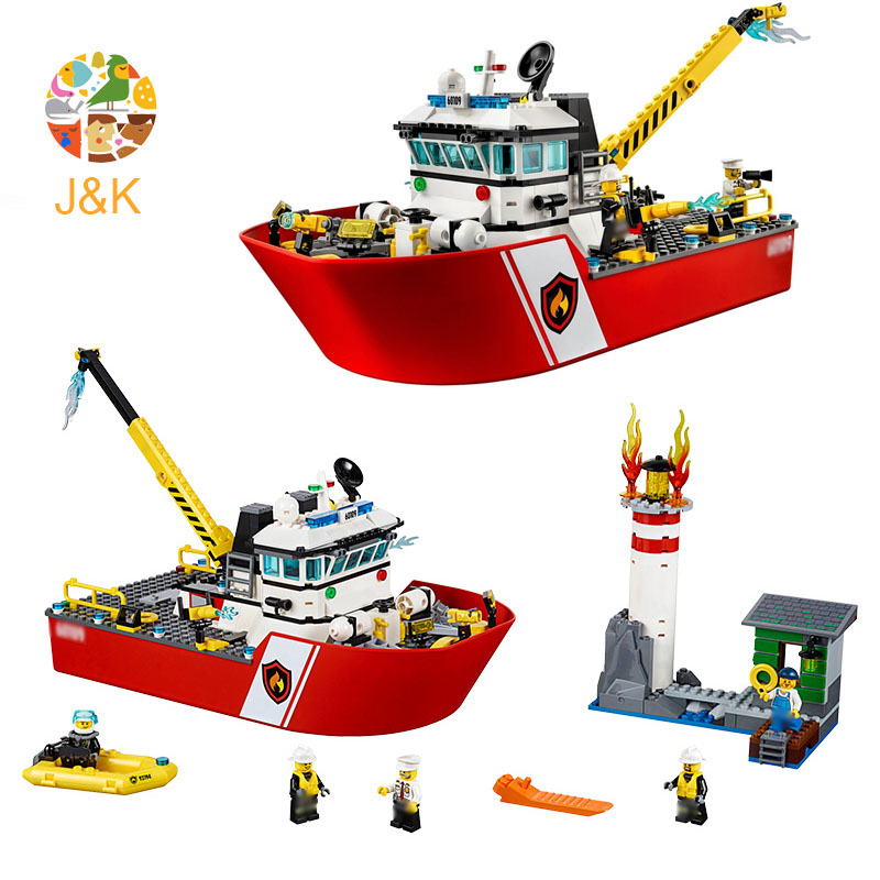 <font><b>60109</b></font> 450pcs City series The Fire Brigade Boat Model Building Block Educational Toy For Children Birthday Gift 10830 image