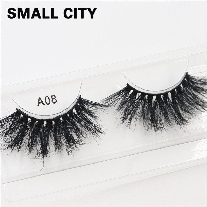 25mm A08 SMALL CITY 100% Handmade Natural Thick Eye Lashes 6D Mink Hair Volume Makeup Extention Tools Eyelashes Beauty 2020 Gift