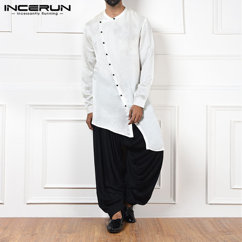 INCERUN Casual Cotton Men Shirt 2019 Loose Long Sleeve Button Vintage Long Irregular Shirts Plain Men Indian Clothes Plus Size 7