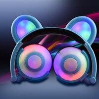 Cute Bear Ear Kids Headphones Wired Stereo Foldable Flashing Glowing Creative Headset For Girls