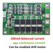 3S 40A 리튬 이온 리튬 배터리 충전기 Lipo 셀 모듈 PCB BMS 보호 보드 드릴 모터 12.6V 균형