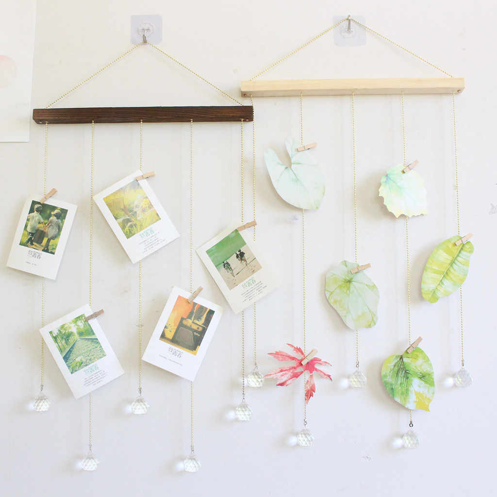 Nordic DIY Wooden Wall Hanging Picture Frame Wall Decoration DIY Hanging Photo Picture Display Collage Set Crystal Pendant 2019