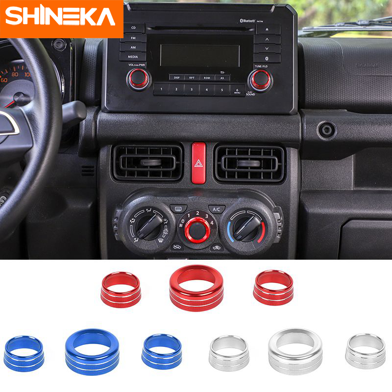 SHINEKA Car Interior Audio Manual Air Conditioning Switch Button Knob Decoration Ring Accessories For Suzuki Jimny 2019+(China)