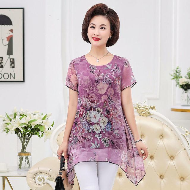 2020 New Summer Middle Aaged Women Fashion Casual Short Sleeve Blouse Tops Female Flower Print Loose Plus Size 4xl Shirt W23 1