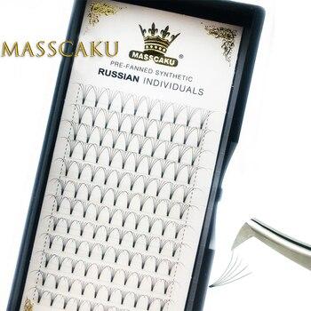 MASSCAKU 1 Case Wholesale Short Stem Lash Premade Russian Volume Fans Faux Mink Eyelashes Premade Eyelash Extensions Makeup 1
