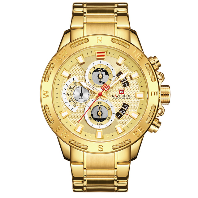 NAVIFORCE Luxury Brand Mens Sport Watches Gold Waterproof Military Clock 10