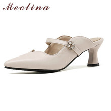 Meotina Women Pumps High Heels String Bead Mules Shoes Pointed Toe Thin Heel Footwear Lady Summer Fashion Black Size 33-46
