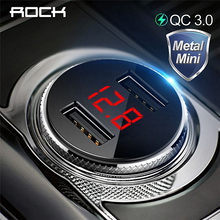 Rock qc3.0 metal duplo usb carregador de carro display digital para o iphone 11x8 xs max 7 xiaomi samsung monitoramento tensão carregamento rápido(China)