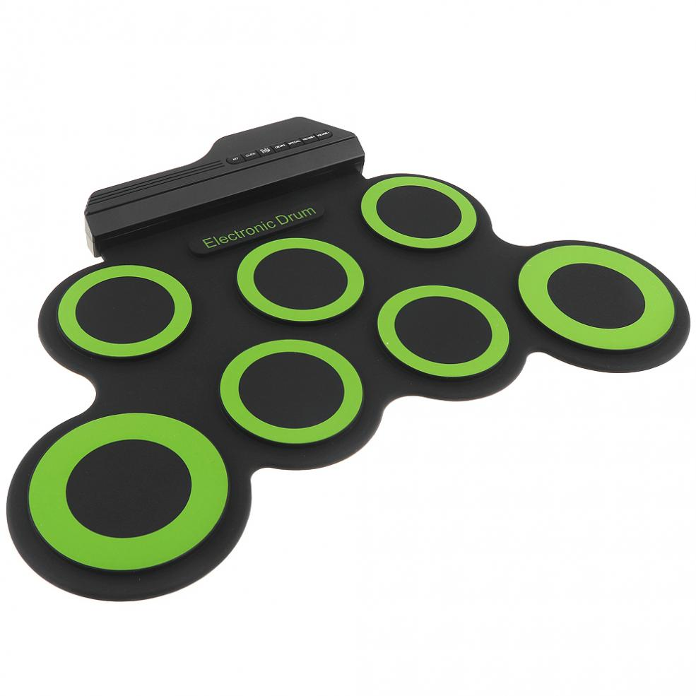 Portable Electronic Digital USB 7 Pads Roll up Set Silicone Green Electric Drum Kit with Drumsticks and Sustain Pedals in Electronic Drum from Sports Entertainment