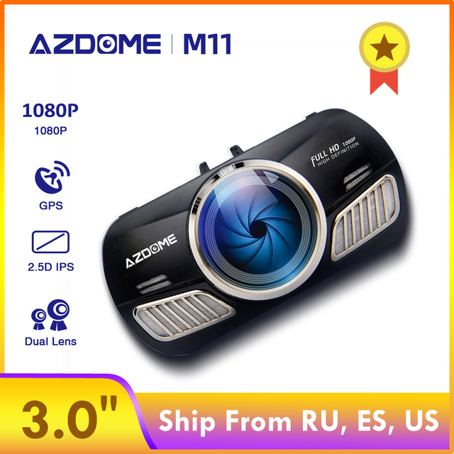 $ US $28.15 AZDOME M11 Dash Cam 3 inch 2.5D IPS Screen Full HD1080P Car Camera DVR Dual Lens Night Vision 24H Parking Monitor Dashcam GPS
