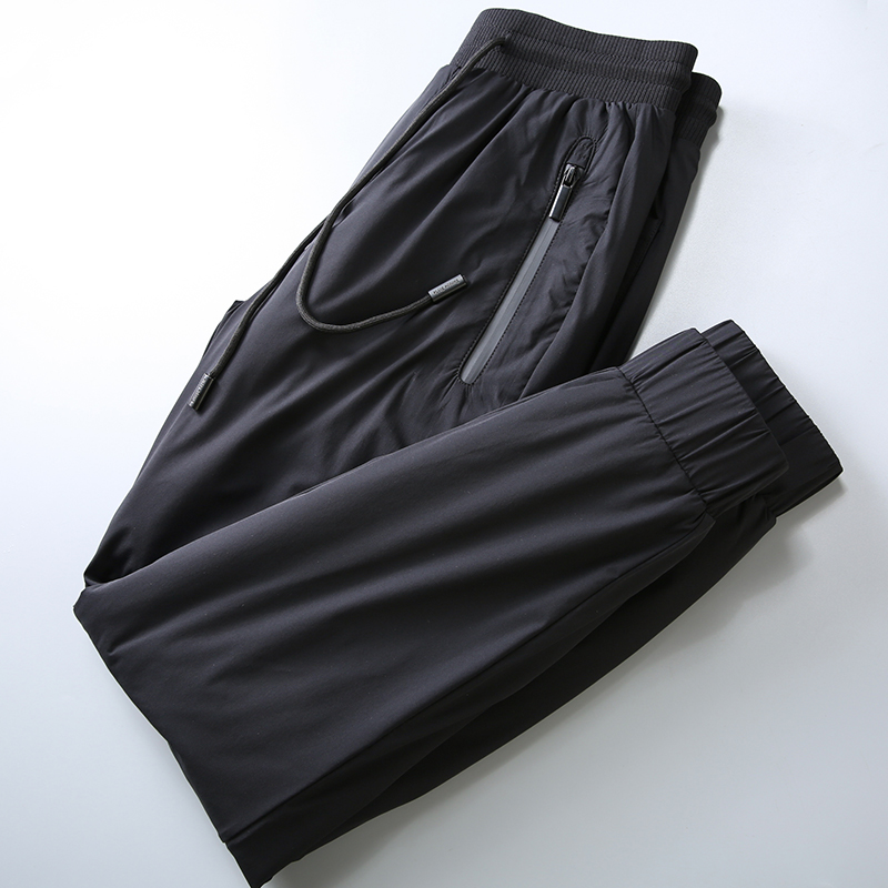 JSBD Winter Cold Thickened Warm Cotton Trousers Men Outdoor Wear Down Cotton Elastic Waist Casual Pants