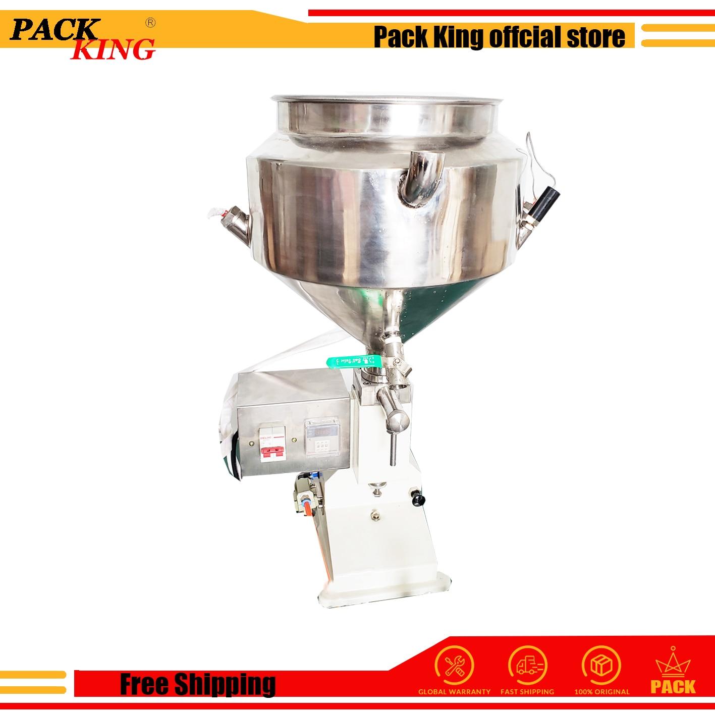 Heating Hopper Pneumatic Filling Machine 5-50ml Cream Food Paste Dispensing Peanut Butter Packaging Equipment Free Shipping