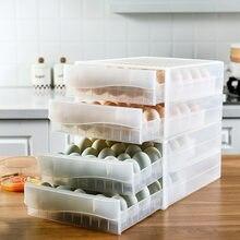 Kitchen refrigerator egg box double drawer egg box egg rack transparent anti-collision plastic egg box