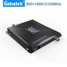 Lintratek LCD 모바일 신호 부스터 900MHz 1800MHz 2100MHz W CDMA Repetidor GSM 2G 3G 4GLTE 트리플 밴드 핸드폰 Amplificador.
