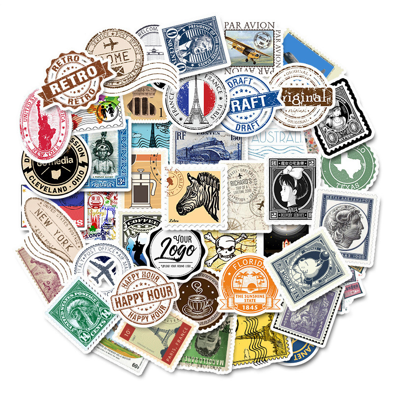 50Pcs Vinyl Vintage Stamp Stickers Retro Travel Stickers Suitcase Sticker Decals Toys For Laptop Luggage Car Water Bottle Phone
