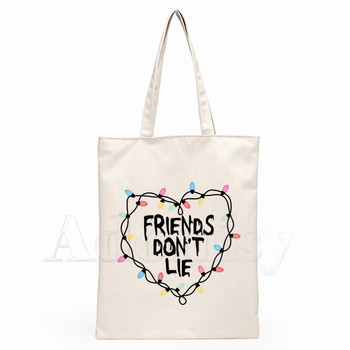 Stranger Things Friends Do Not Lie Canvas Shoulder Bag Tote Eco Shopping Casual HandBag Daily Use