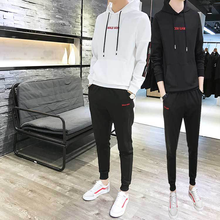 Hoodie T-shirt Men Spring And Autumn 2019 New Style Korean-style Spring Clothes Casual Sports Clothing Set Men'S Wear