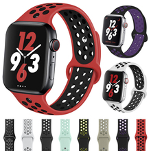 Silicone Sports Watch band for Apple 38mm 40mm 42mm 44mm Rubber Strap iwatch series 4 3 2 1 Nike+ Wristband