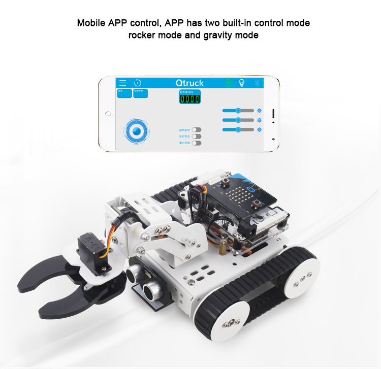 25 * 15 * 10CM Micro: Bit Smart Car Kit Programming Tracing Avoidance Robot Kits for Kids Hi-tech Educational Toys