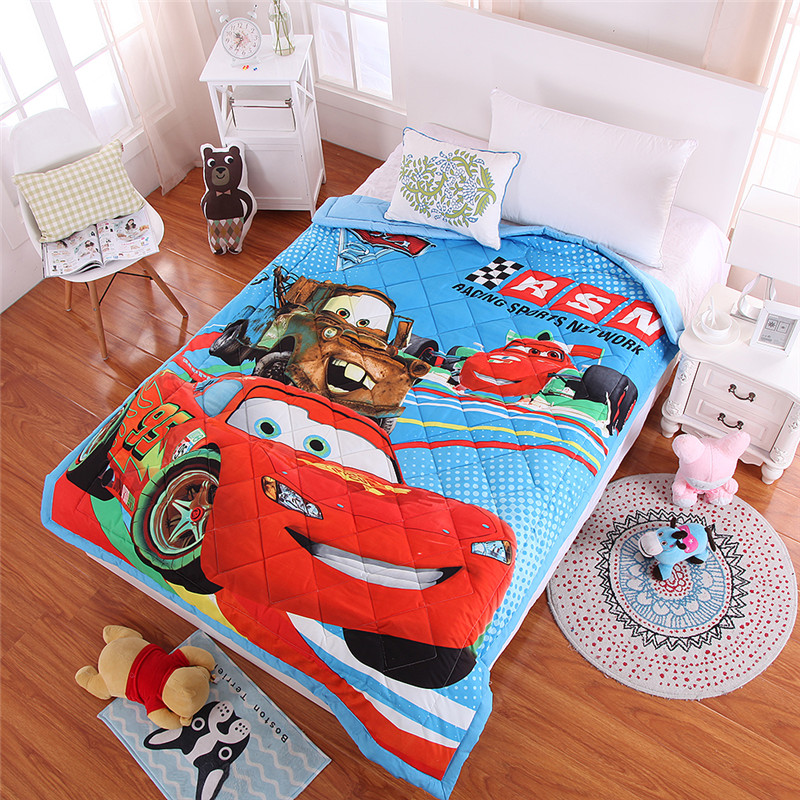 Lightning McQueen Bedding Quilt Twin Size Duvets for Kids Single Coverlets Cotton Bed Boys <font><b>150*200</b></font> cm Thin Quilt 3D Car Printing image