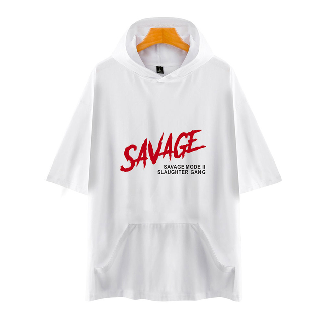 21 SAVAGE THEMED SHORT SLEEVE HOODIE (25 VARIAN)