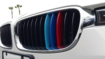 3pcs/set Universal Car Stickers and Decals Carbon Fiber Front Grill Stripes Decals For BMW M3 M5 M6 E46 E39 E60 E90 F30 F32 F80 image