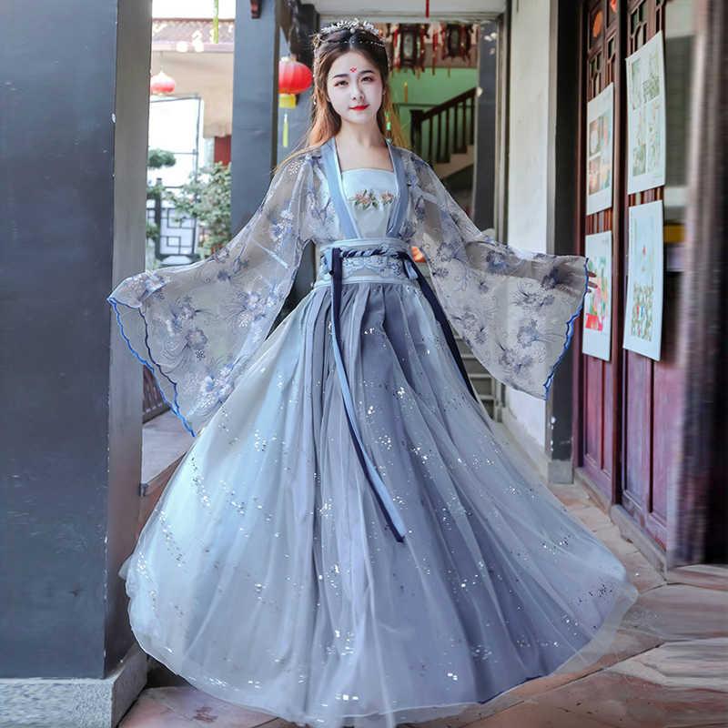 Kobiety Hanfu chińskie tradycyjne stroje ludowe dziewczyna dynastia Han ubrania taneczne pani bajki ubrania typu Cosplay orientalne starożytny książę garnitur