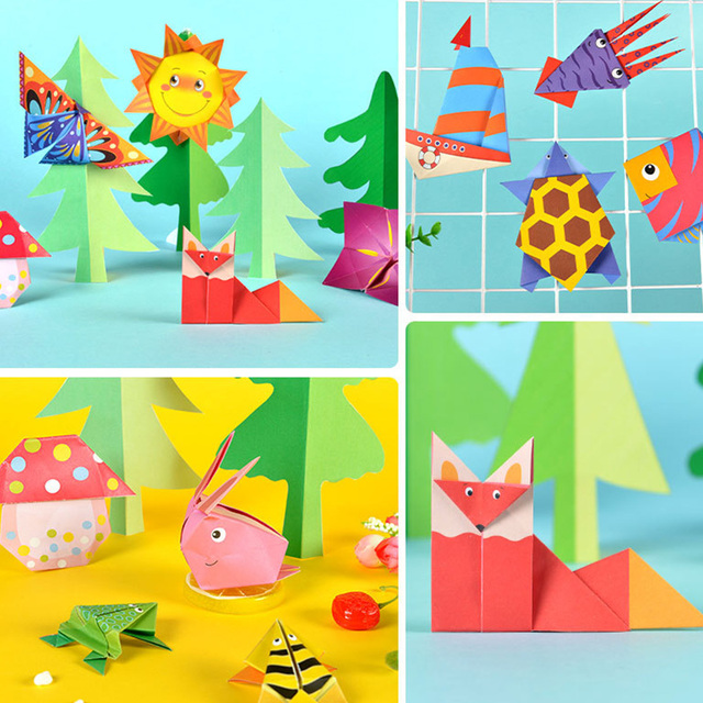 54pcs/set Origami Paper 3D Cartoon Animal Pattern Toy Kid Handmade DIY Color Papers Scrapbooking Craft Decoration Education Toys 5