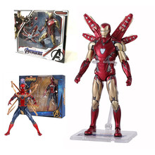 17cm Avengers Iron Man MK85 Spider Man PVC action figure toys Iron Man MK85 Spider-man Joint movable figure dolls toys kid gift