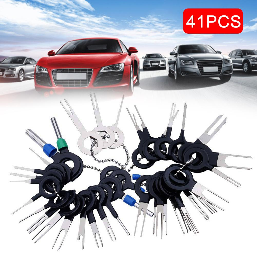 41PCS Connector Pin Removal Auto Car Plug Circuit Board Wire Harness Terminal Extraction Pick Crimp Pin Back Needle Removal Tool