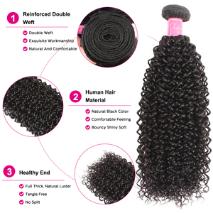 Image 4 - Malaysian Curly Hair Bundles With Closure Pre Plucked Hairline Remy Human Hair Bundles With Closure Julia 3 Bundles With Closure