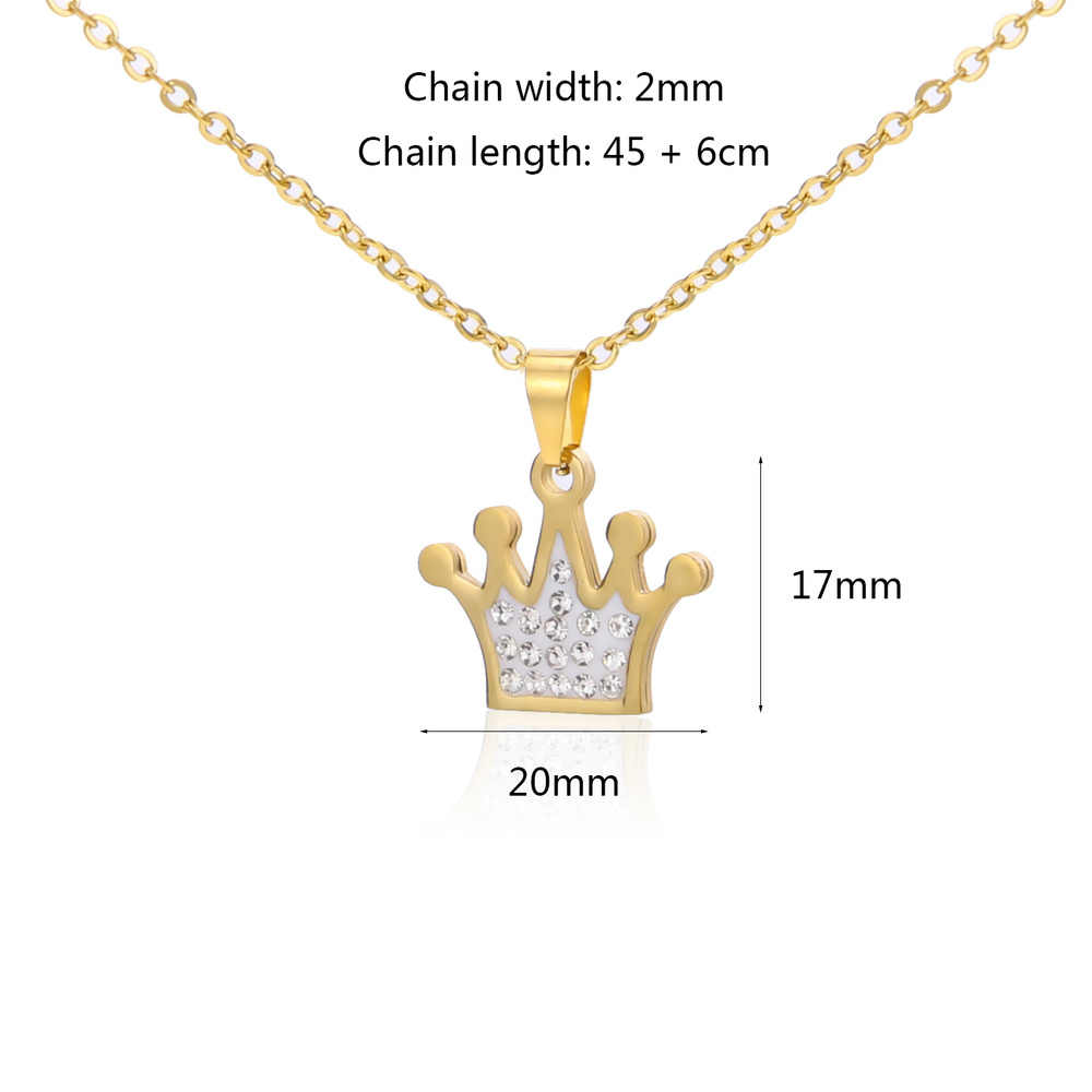 Stainless Steel adjustable Necklace For Women Man Lover's Crown Gold And Steel Color charm Pendant Necklace Jewelry
